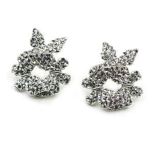 Fashion butterfy silver crystal earrings